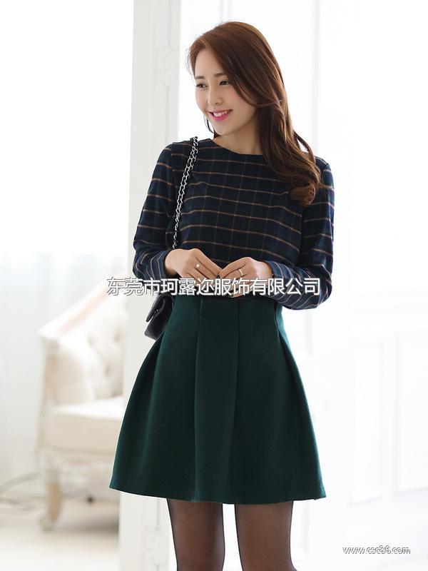 2014韩版爆款套装 品牌长袖春装热卖 新款连衣裙B321大图一