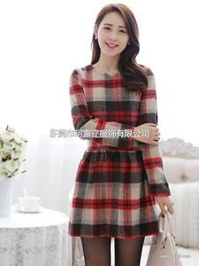 2014韩版女装 新款全棉格纹品牌长袖春装连衣裙批发B320