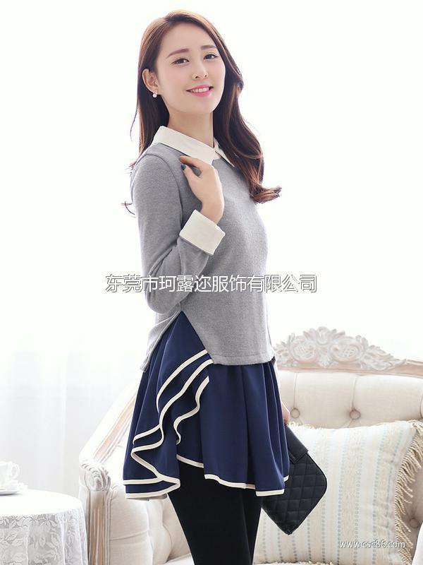 2014春装新款韩版时尚女装翻领荷叶边修身 连衣裙B322大图一