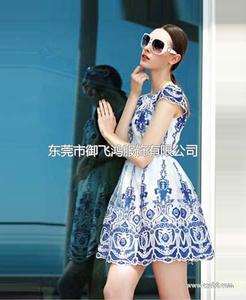 尤加迪曼2014夏装新款青花瓷连衣裙