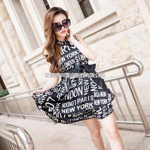 厂家热销欧美夏季原创时尚女装新款印花 品牌连衣裙A389