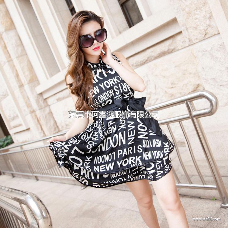 厂家热销欧美夏季原创时尚女装新款印花 品牌连衣裙A389大图一