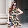 清凉夏季欧洲站女装原创设计迷彩雪纺新款 品牌连衣裙A388小图二