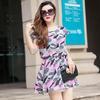 清凉夏季欧洲站女装原创设计迷彩雪纺新款 品牌连衣裙A388小图四