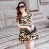 清凉夏季欧洲站女装原创设计迷彩雪纺新款 品牌连衣裙A388小图一