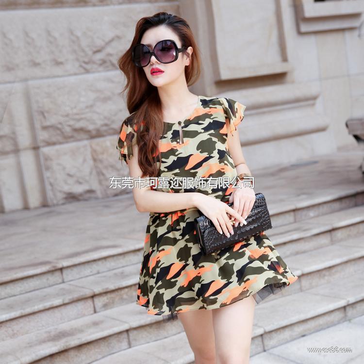 清凉夏季欧洲站女装原创设计迷彩雪纺新款 品牌连衣裙A388大图一