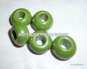 浅草绿烤色大孔珠