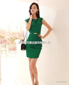 一手货源2014韩版夏季新款OL雪纺 品牌连衣裙B383