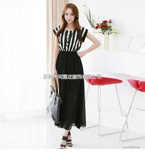 品质女装批发条纹圆领中长裙子 夏季雪纺连衣裙B399