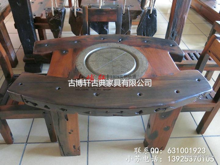 鄂尔多斯老船木家具老船木沙发乌金石茶几