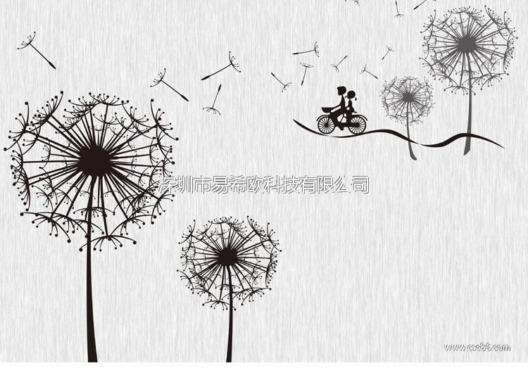 自行车手绘墙壁画