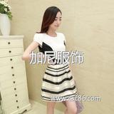 夏装新款雪纺欧根纱拼接时尚条纹连衣裙