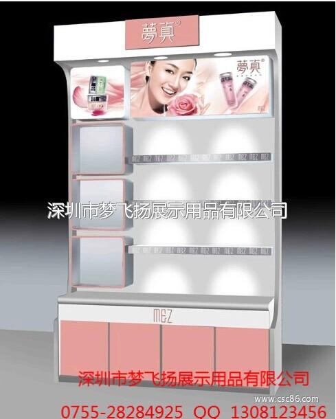 深圳展示架工厂批量生产化妆品陈列展示架 木制烤漆商品展示架