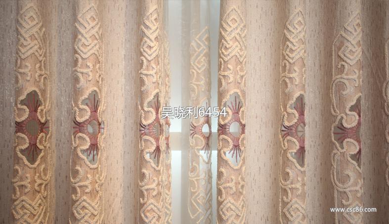 欧式简约现代定制客厅书房提花底布镂空贴纱绣花窗帘