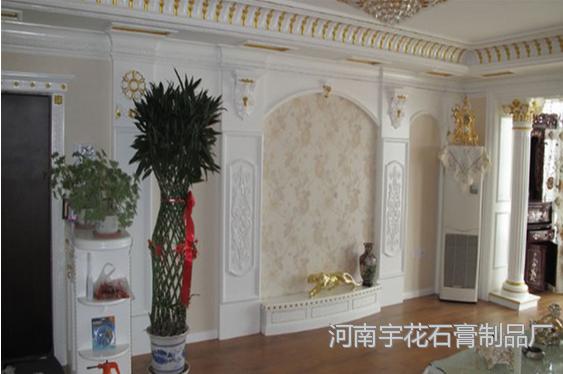 施工吊顶背景墙装饰石膏阳角线效果图欧式石膏线条