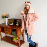 冬装新款日韩VIVI米娜羊羔绒内胆连帽长款加厚棉衣