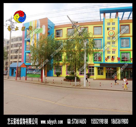陕西榆林府谷幼儿园室外墙体彩绘设计图片