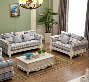 现代家用客厅布艺沙发组合麻布1+2+3卧室沙发