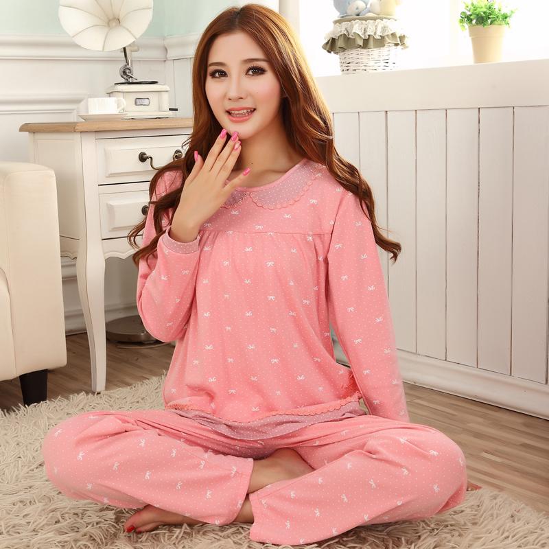 秋冬季女士居家纯棉家居服套装舒适纯长袖睡衣两件套图片
