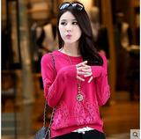 红惑秋装新款2014套头宽松毛衣蕾丝绣花长袖