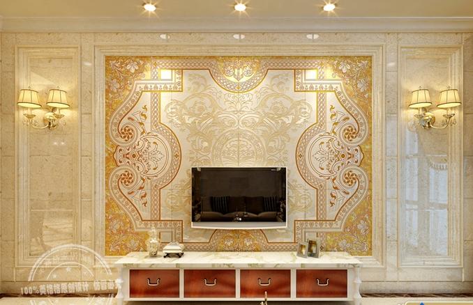 欧式瓷砖背景墙 电视背景墙瓷砖