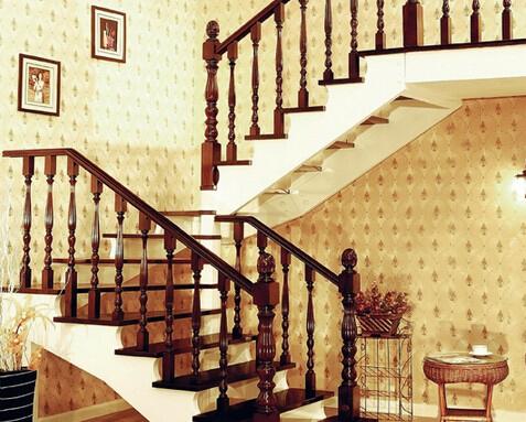厂家直销精装家庭实木免漆楼梯/楼梯栏杆/楼梯扶手