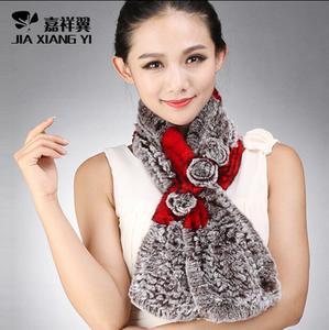 韩版新款皮草围脖獭兔毛女式纯手工编织三花皮草围巾