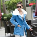 韩版羊羔毛领中长款棉外套 羊羔绒棉衣女