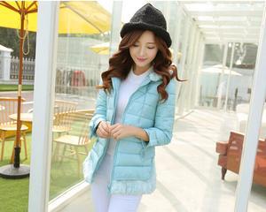 新款韩版修身九分袖 下摆连帽羽绒服女装