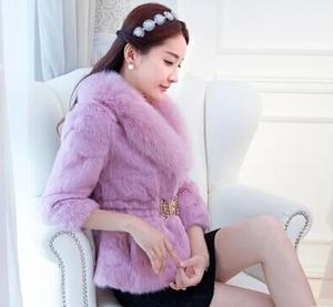 2014冬季新款狐狸毛领海宁韩版濑兔毛皮草外套女短款
