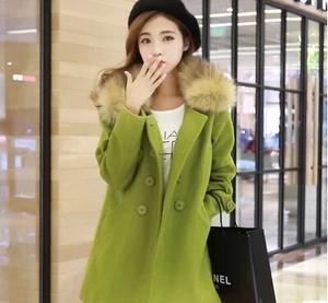 韩版新款 毛呢大衣 中长款羊毛呢子双排扣大衣