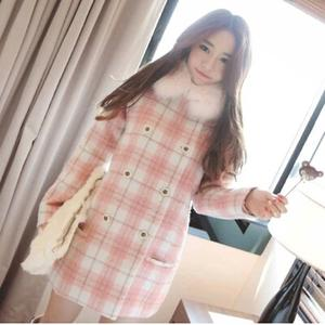 冬款呢子大衣羊毛 粉色格子甜美气质外套