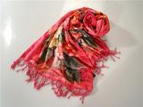 鸿乐丝绸桑蚕丝水印花布料丝巾复古风披肩