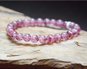 泰国 草莓晶手链 招桃花旺姻缘 女款单圈水晶手串