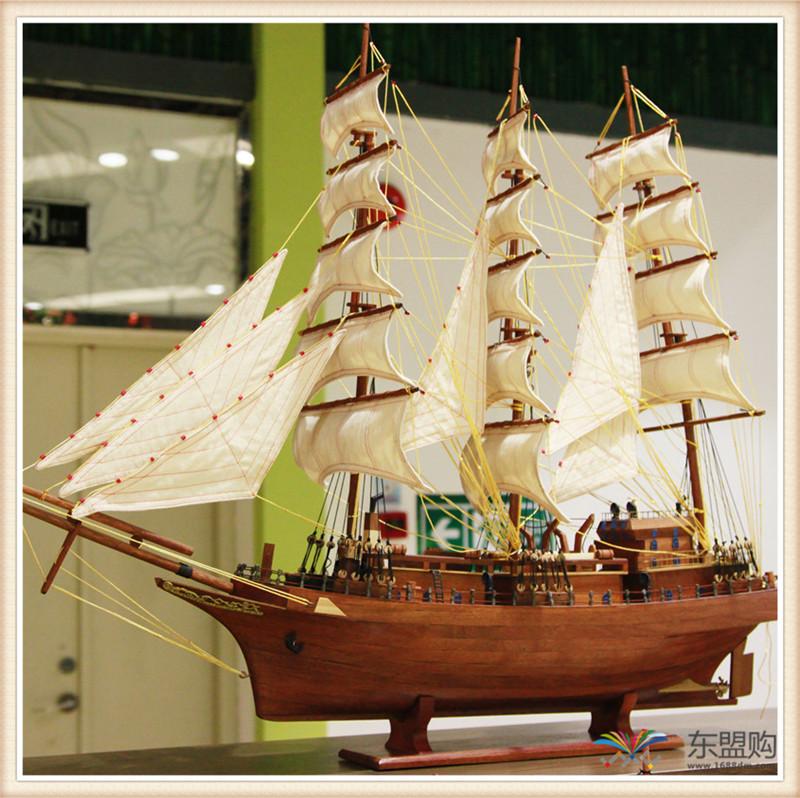 越南进实木质帆船模型摆件