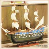 手工木制5号饰品帆船模型软装饰品工艺船帆船摆件
