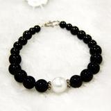 柬埔寨珍珠玛瑙手链然淡水珍珠手链 圆形强光 配玛瑙