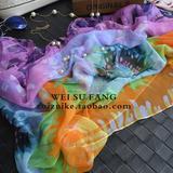新款乔其纱太阳花卉夏季防晒披肩超大沙滩巾长款围巾两