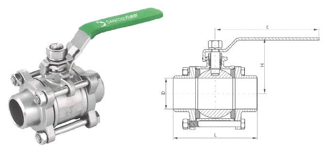 丹佛斯三片式焊接球阀图片