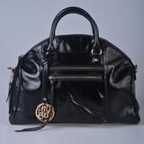 潮品时尚女包贝壳包油蜡皮包手提包斜挎包黑色