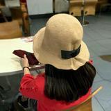 2015秋冬新款蝴蝶结免毛保暖盆帽气质可折叠帽