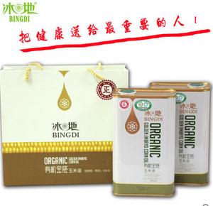 冰地玉米胚芽油非转基因食用油1L*2金胚玉米油礼盒
