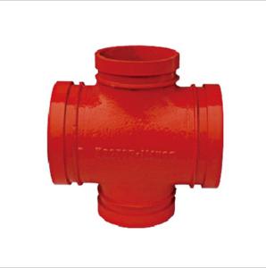 供应沟槽管件消防正四通 沟槽式螺纹式管件 异径四通