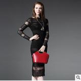 欧洲站2015秋装新品女装欧美大牌性感网纱蕾丝