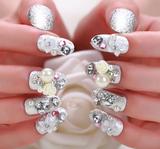 新娘美甲 假指甲贴片成品珍珠玫瑰花 24片 背胶款