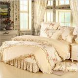 宜莎秋冬季韩式小清新花边床裙床罩式四件套纯棉法兰绒
