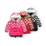 冬季新款女童波点羊羔绒连帽棉衣
