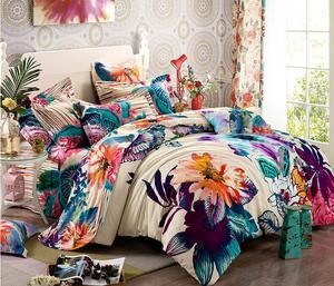 美奈尔家纺 磨毛四件套全棉床上用品套件欧美田园风格