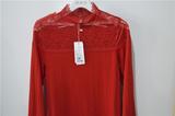 诗曼芬女式均码大红色蕾丝全棉内衣套装