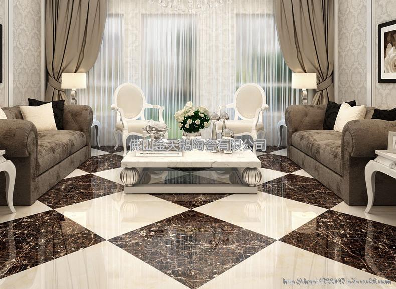 小天鹅瓷砖 黑色仿大理石客厅卧室地砖